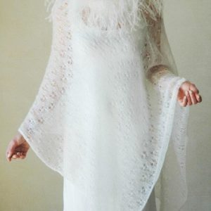 PONCHO LACE WITH OSTRICH FEATHER TRIM