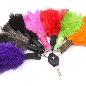 KEY RING FEATHER & LEATHER