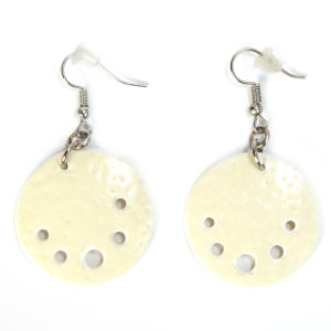 Earring Ostrich Eggshell Round/00016-Chic