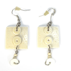Earring Ostrich Eggshell Square/00046-Chic